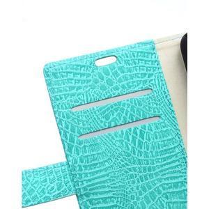 Croco peňaženkové puzdro pre Samsung Galaxy Trend 2 Lite - cyan - 3