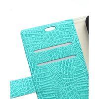 Croco peňaženkové puzdro pre Samsung Galaxy Trend 2 Lite - cyan - 3/7