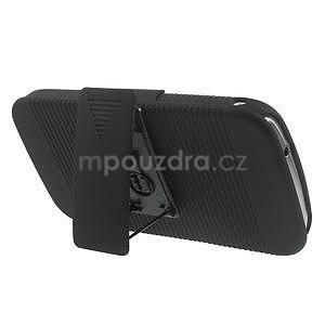 Odolný pogumovaný kryt so stojanom pre Samsung Galaxy K Zoom - čierny - 3