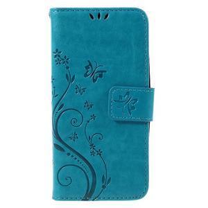 Butterfly koženkové puzdro na Microsoft Lumia 550 - modré - 3