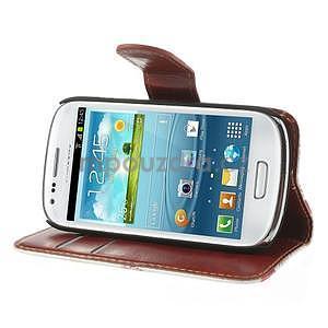 Pěněženkové kožené puzdro na Samsuing Galaxy S3 mini - listí - 3