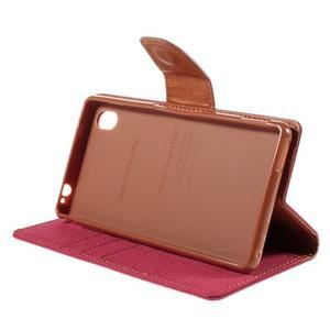 Canvas textilné/koženkové puzdro pre Sony Xperia M4 Aqua - červené - 3