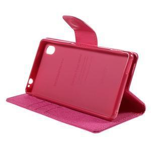 Canvas textilné/koženkové puzdro pre Sony Xperia M4 Aqua - rose - 3