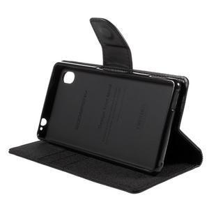 Canvas textilní/koženkové pouzdro na Sony Xperia M4 Aqua - černé - 3