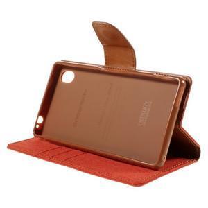 Canvas textilné/koženkové puzdro pre Sony Xperia M4 Aqua - oranžové - 3