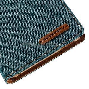 Canvas textilné / koženkové puzdro pre Sony Xperia M4 Aqua - zelenomodré - 3