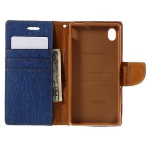 Canvas textilní/koženkové pouzdro na Sony Xperia M4 Aqua - modré - 3