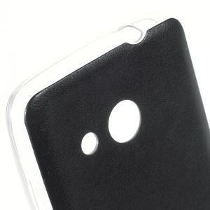 Gélový obal s jemnou koženkou na Microsoft Lumia 550 - čierný - 3
