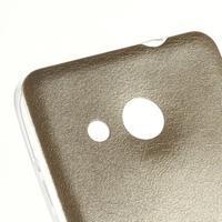 Gélový obal s jemnou koženkou na Microsoft Lumia 550 - zlatý - 3/4