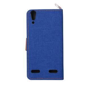 Jeans PU kožené/textilní puzdro na mobil Lenovo A6000 - tmavo modré - 3