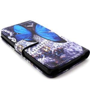 Peneženkové puzdro na mobil LG G4c - modrý motýl - 3