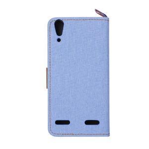 Jeans PU kožené/Textilné puzdro pre mobil Lenovo A6000 - svetlo modré - 3