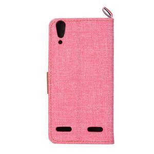 Jeans PU kožené/Textilné puzdro pre mobil Lenovo A6000 - ružové - 3