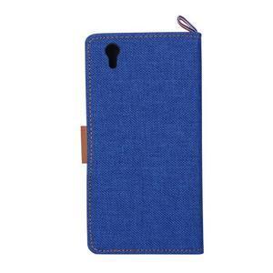 Jeans PU kožené/Textilné puzdro pre mobil Lenovo P70 - tmavo modré - 3