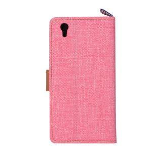 Jeans PU kožené/textilní puzdro na mobil Lenovo P70 - růžové - 3