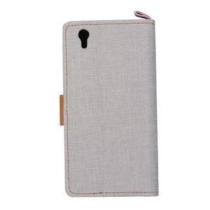 Jeans PU kožené/textilní puzdro na mobil Lenovo P70 - šedé - 3
