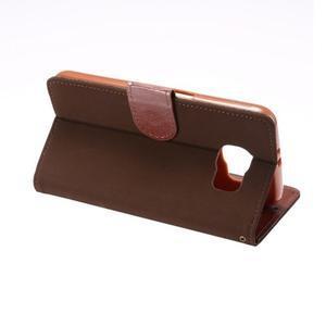 Business látkové/PU kožené puzdro na Samsung Galaxy S6 - hnedé - 3