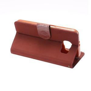 Business látkové/PU kožené puzdro na Samsung Galaxy S6 - červenohnedé - 3