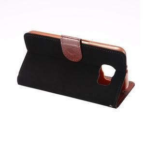 Business látkové/PU kožené puzdro na Samsung Galaxy S6 - čierné - 3