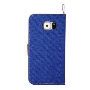 Jeans štýlové textilné/PU kožené puzdro pre Samsung Galaxy S6 - modré - 3