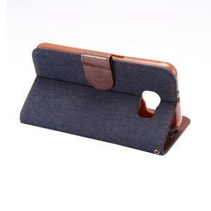 Cloth peňaženkové puzdro pre Samsung Galaxy S6 - čierné - 3