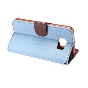 Cloth peňaženkové puzdro pre Samsung Galaxy S6 - svetlo modré - 3