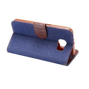 Cloth peňaženkové puzdro pre Samsung Galaxy S6 - tmavo modré - 3