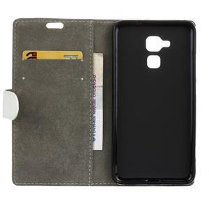 Peňaženkové PU kožené puzdro pre mobil Honor 7 Lite - bielé - 3