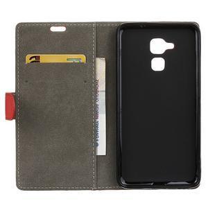 Peněženkové PU kožené pouzdro na mobil Honor 7 Lite - červené - 3