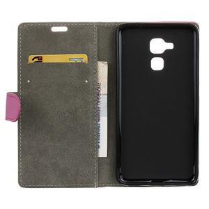 Peňaženkové PU kožené puzdro pre mobil Honor 7 Lite - rose - 3