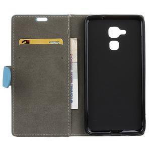 Peňaženkové PU kožené puzdro pre mobil Honor 7 Lite - modré - 3
