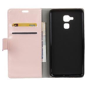 Horse PU kožené puzdro pre mobil Honor 7 Lite - ružové - 3