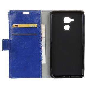 Horse PU kožené puzdro pre mobil Honor 7 Lite - modré - 3
