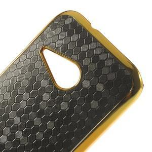 Plastový kryt se zlatým lemem pre HTC One mini 2 - čierny - 3