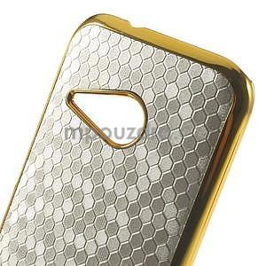 Plastový kryt se zlatým lemem na HTC One mini 2 - strieborný - 3