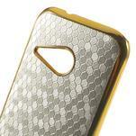 Plastový kryt se zlatým lemem pre HTC One mini 2 - strieborný - 3/5