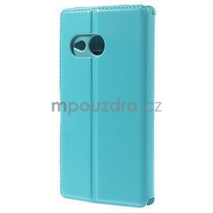 Tyrkysové peňaženkové puzdro pre HTC One mini 2 - 3