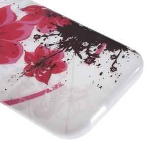 Gélový kryt pre HTC One mini 2 - červené kvetiny - 3
