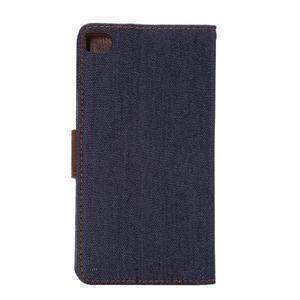 Štýlové peňaženkové puzdro Jeans na Huawei Ascend P8 -  čiernomodré - 3