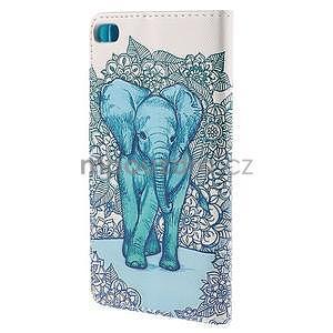 Peňaženkové puzdro Huawei Ascend P8 - modrý slon - 3