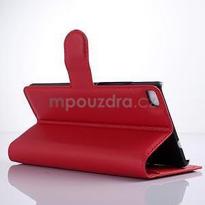 Kožené peňaženkové puzdro na Huawei Ascend P8 - červený - 3