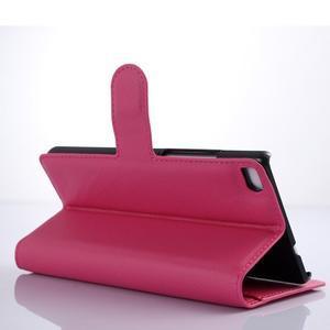 Kožené peňaženkové puzdro na Huawei Ascend P8 - rose - 3