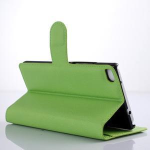 Kožené peňaženkové puzdro na Huawei Ascend P8 - zelený - 3