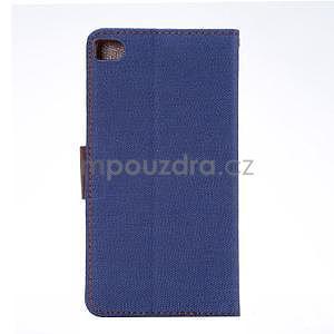 Štýlové peňaženkové puzdro Jeans na Huawei Ascend P8 - tmavomodré - 3