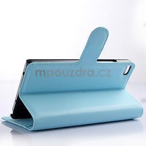 Kožené peňaženkové puzdro na Huawei Ascend P8 - modrý - 3
