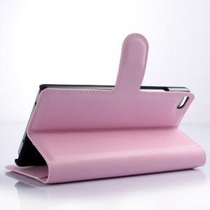 Zapímací peněženkové pouzdro na Huawei P8 Lite - růžové - 3