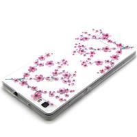 Transparentné gélový obal na Huawei Ascend P8 Lite - kvety čerešní - 3/4