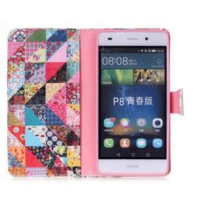 Puzdro na mobil Huawei P8 Lite - koláž trojúhelníčků - 3