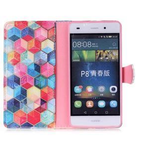 Puzdro pre mobil Huawei P8 Lite - farebné hexagony - 3