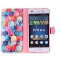 Puzdro pre mobil Huawei P8 Lite - farebné hexagony - 3/6